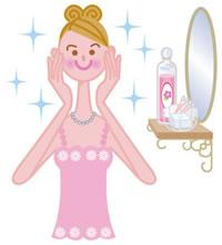 鏡の前でファッションを楽しむ女性